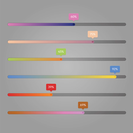 horizontal: Progress bar horizontal with number and gradient effect Illustration