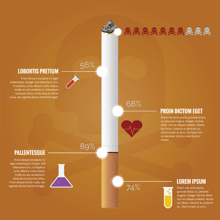 cigarette smoke: Infographic about how dangerous substance in cigarette Illustration