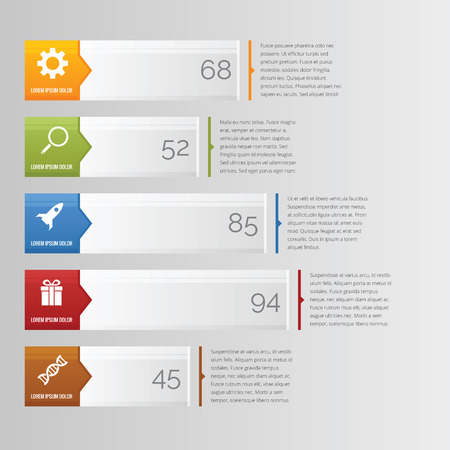 Horizontal bar chart infographic with arrow and icon Vector
