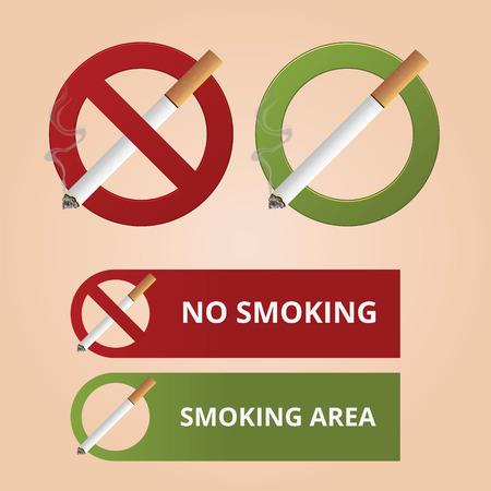 smolder: No smoking and smoking area symbol for restaurant