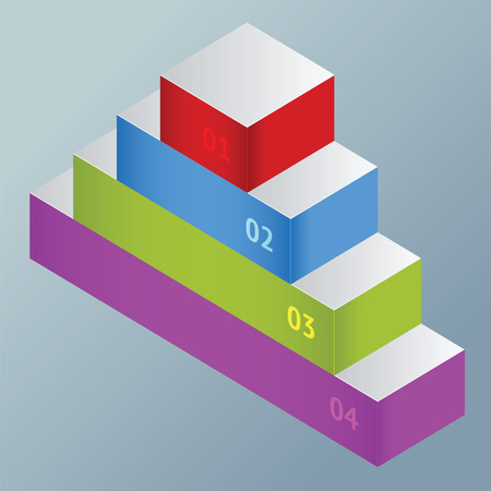 stepladder: Staircase leader top position with different color and number