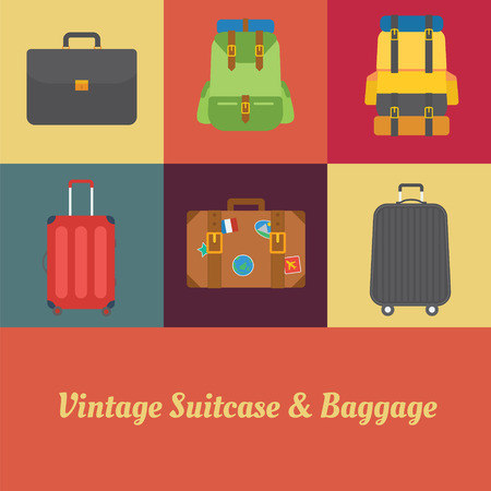 brown leather: Suitcase Luggage and Baggage in retro style