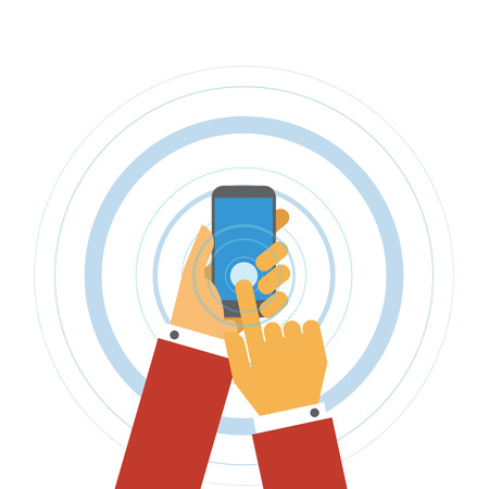 cellphone in hand: Hand hold phone touching cellphone screen concept