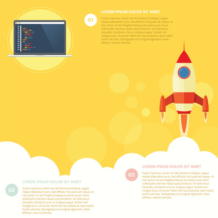 rocket launch: Infographic with rocket flying in yellow background