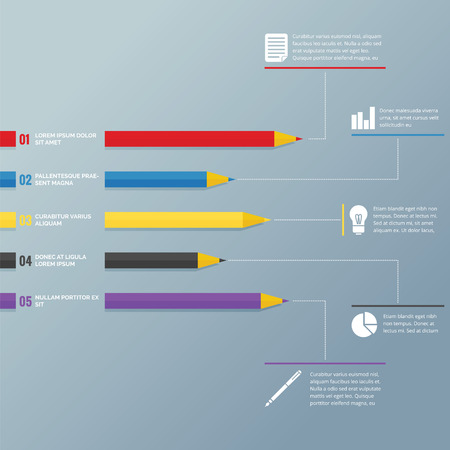 colored pencil: Infographic with colored pencil concept for education Illustration