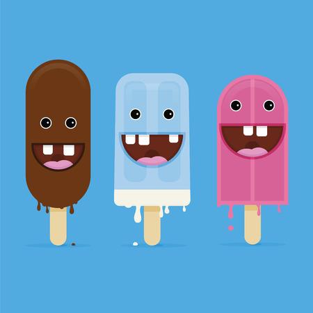狂気のアイスクリーム夏笑顔顔  イラスト・ベクター素材