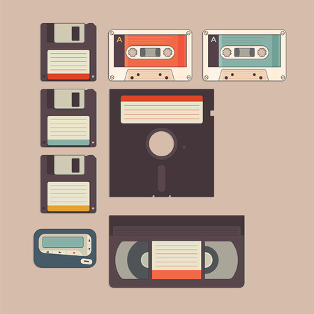 pager: Old stuff from 90s and 80s in vintage style icon