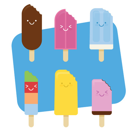 chomp: Summer Ice Cream with bite and cute smile face Illustration