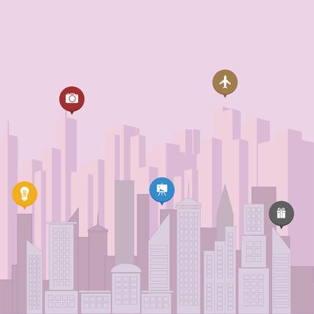 metropolitan: Metropolitan city concept with surreal purple color