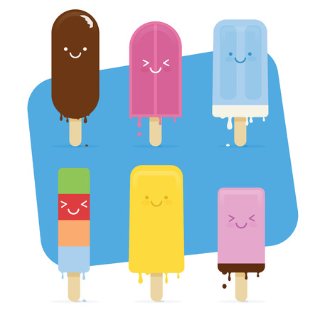 Summer Melted Ice Cream with cute smile face Vector