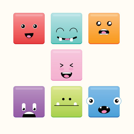 monster face: Cute monster face in rounded square shape