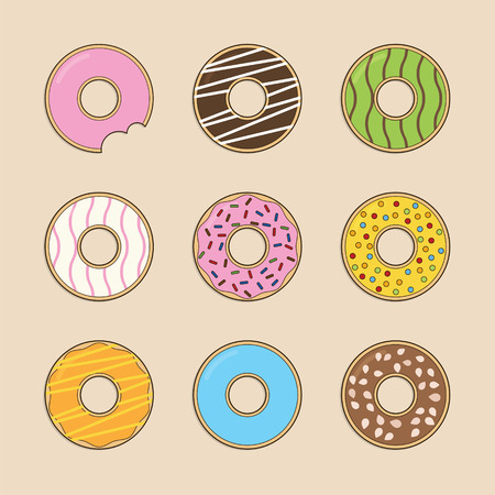 flavour: Donut collection with variation color and flavour Illustration