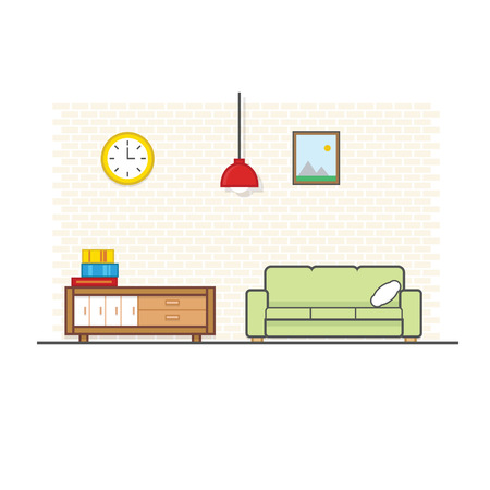chest wall: Living Room Concept with flat and linear design