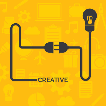 plug socket: Cable concept with plug and socket in yellow background Illustration