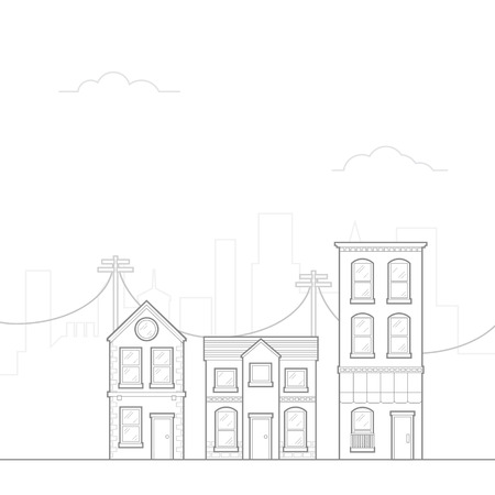 power pole: City Drawing concept with outline linear style