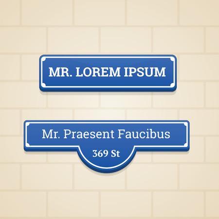 brick background: Blue House segno nel muro con sfondo di mattoni