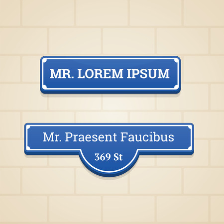 brick sign: Blue House Sign in the wall with brick background Illustration