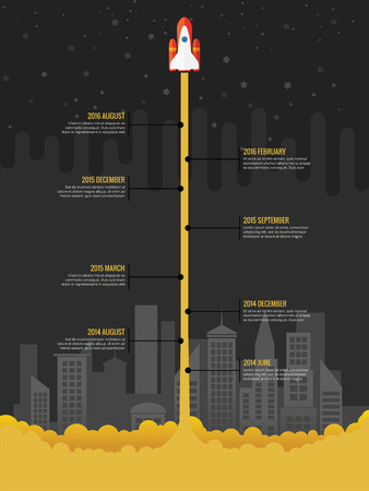 Infographic rocket fly at night with city in the background Illustration