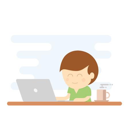using laptop: Ragazzo che sorride mentre si utilizza laptop per lavorare