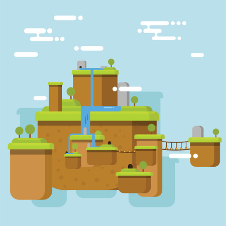 floating island: Floating Island with few island connected with bridge