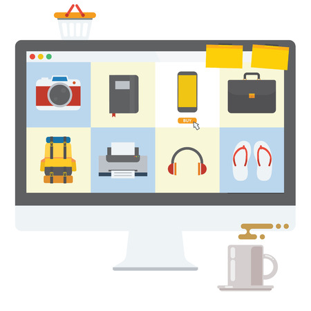 Shopping Online transaction using computer and internet Illustration