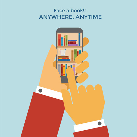 touch: Book shelf inside a cellphone touch screen Illustration