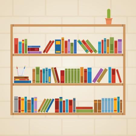 book shelf: Book shelf hanging on the brick wall Illustration