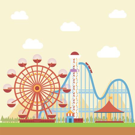 Park rozrywki z widokiem na góry w tle