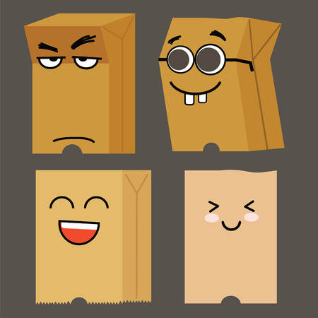 bag cartoon: Cute paper bag cartoon with different face