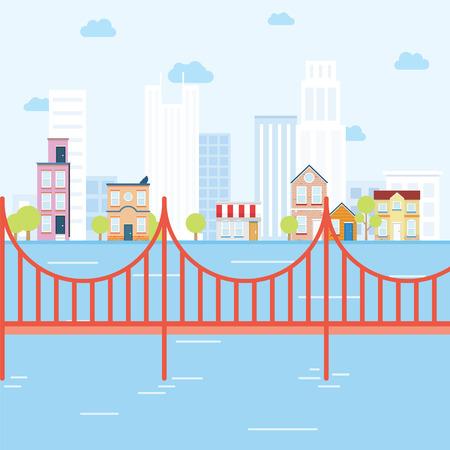 Concept de la ville avec un pont qui ressemble à San Fransisco Vecteurs