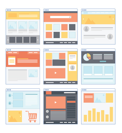 web site: Flat Website Wireframe with different variation and smooth color Illustration