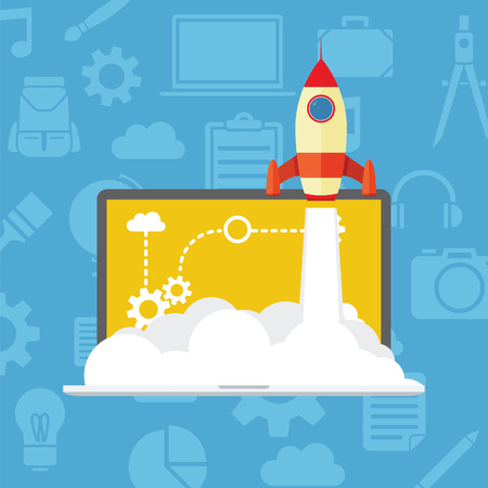 launching: Business Startup launching product with rocket concept