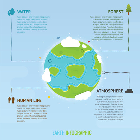 atmosphere: Infographic with earth and Icon taken from space