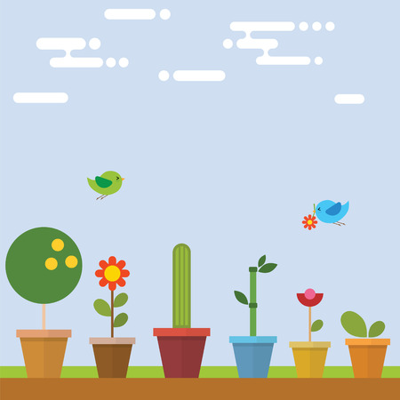 plant stand: Flower Pot in garden with bird flying
