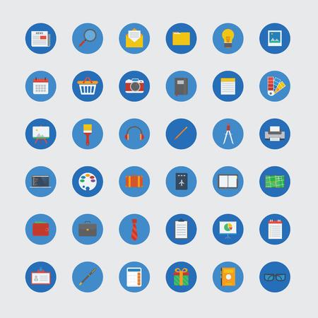 photo icon: Circle icon collection set with flat design Illustration