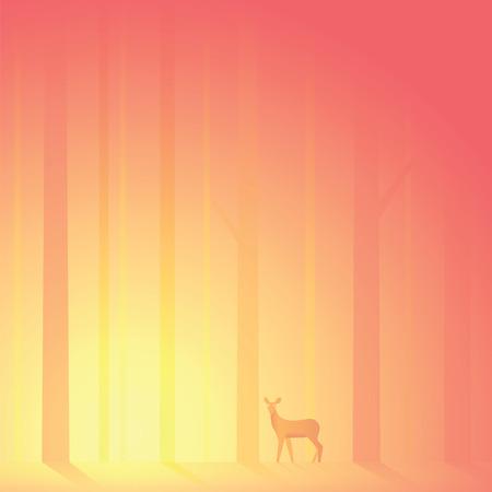 siluetas de animales: Ciervo perdi� en el bosque de la tarde Vectores