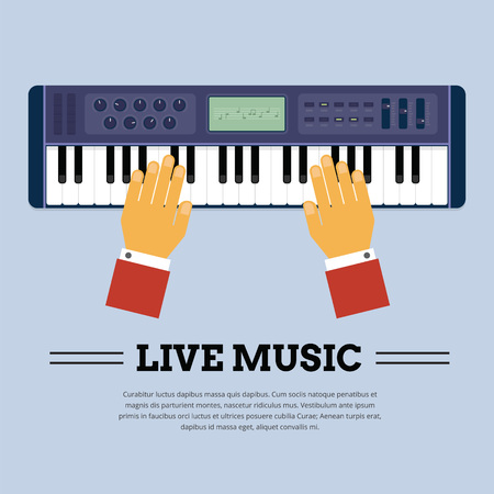 keyboard player: Playing Keyboard player from the top showing player hand Illustration