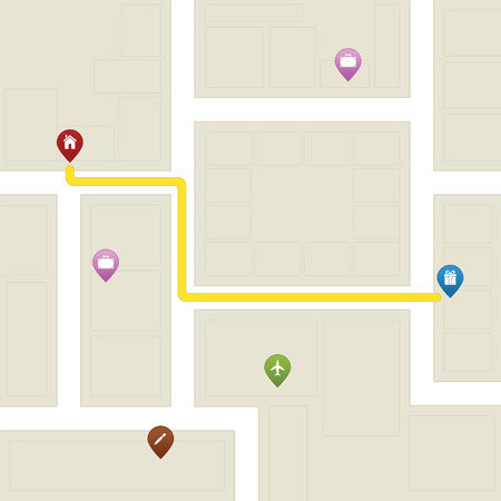 Maps in 2D with street, pointer and navigation Illustration