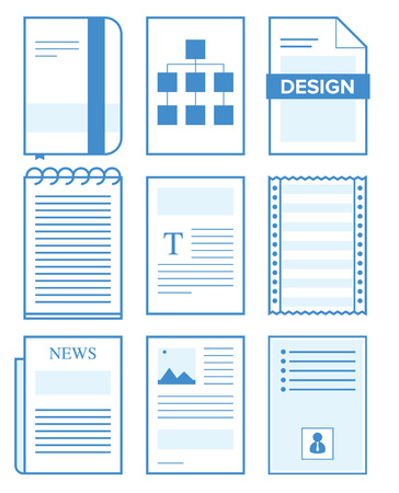 Paper document concept with variation and blue color
