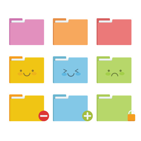 Colourful folder icon set with face expression