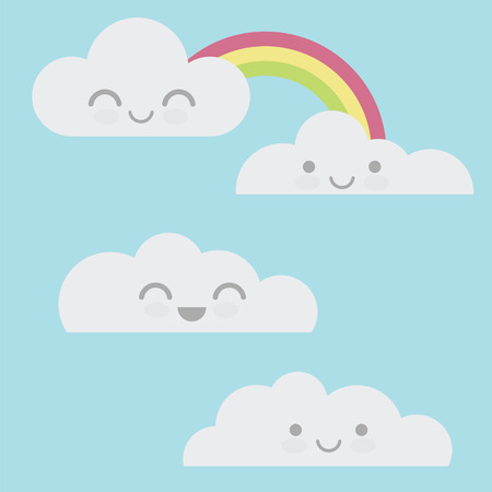Few cloud in the sky with face expression Illustration