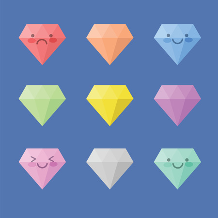 Icon Diamond collection with variation color and smile