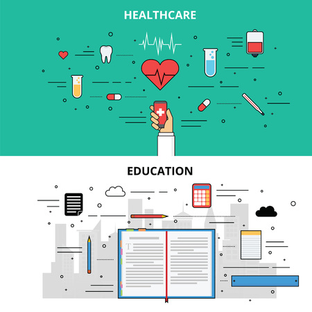 Education and Healthcare infographic with icon and symbol Illustration