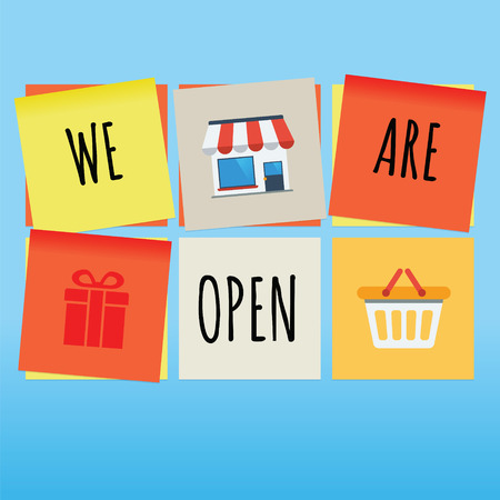 We are open store concept on sticky notes Stock Vector - 48086112
