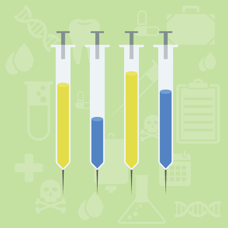 Vertical Syringe Bar Chart Graphic with healthcare background Illustration