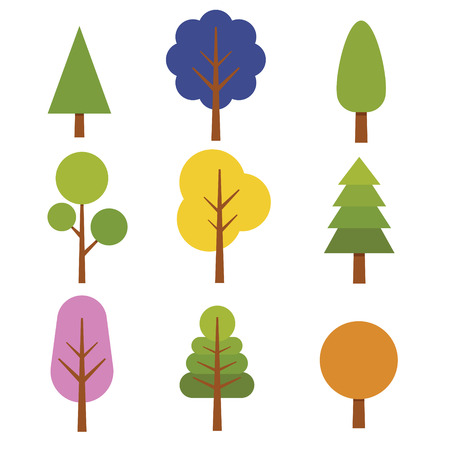 Icon Collection of tree with different variation and color Illustration