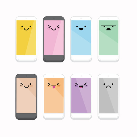 green face: Smiling Cellphone with different color and expression