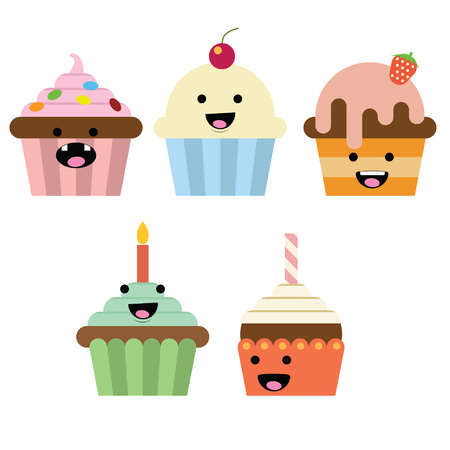 Smiling Cupcake with different variation and color Illustration