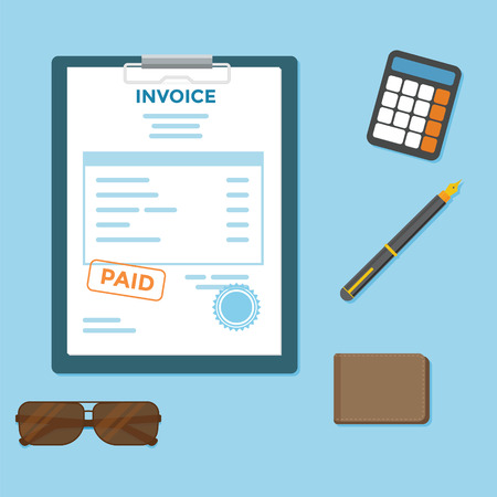 Invoice paper bill with wallet and calculator
