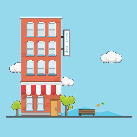 Brick Apartment building with cartoon looks vibrant color Stock Illustratie